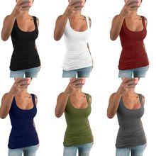 Vrouwen Dames Zomer Casual Solid Elastische Katoen U Hals Tank Mouwloze Slanke Vest Tops S 5XL