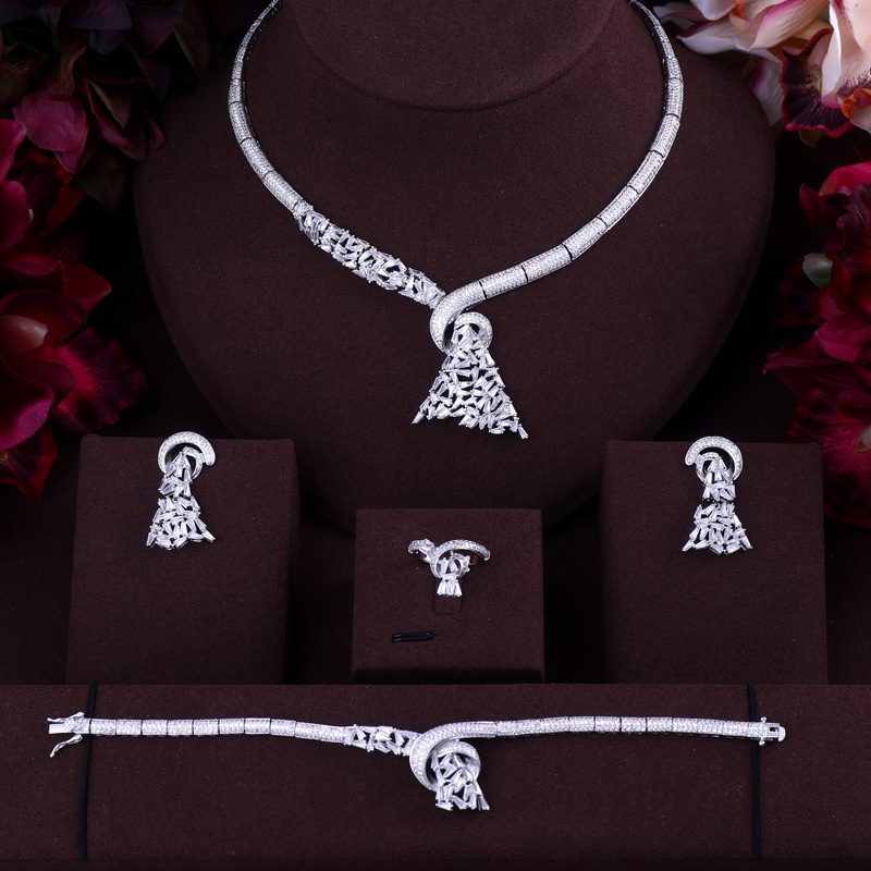 Luxury AAA cubic zirconia heavy necklace ,drop earrings ,bracelet and ring 4pcs dubai full jewelry set, dinner set цена 2017