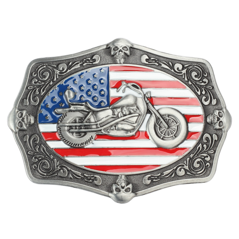 Motorcycle Belt Buckle  American Flag Pattern  Belt Buckle