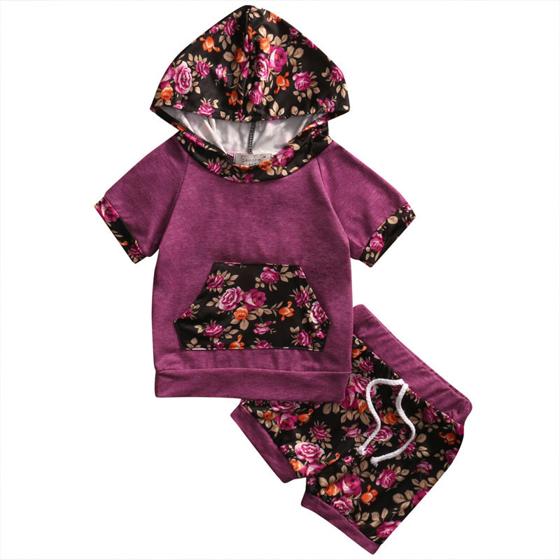New Casual Newborn Baby Girls Clothes Floral Outfits Hooded Tops Coat + Pants Flowers 2Pcs