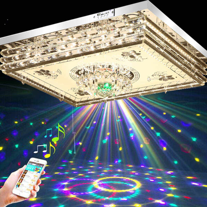 New Crystal Lights Living Room Lights Rectangular Hall LED Ceiling Light MP3 Bluetooth Bedroom Lights Colorful Music LED lamps