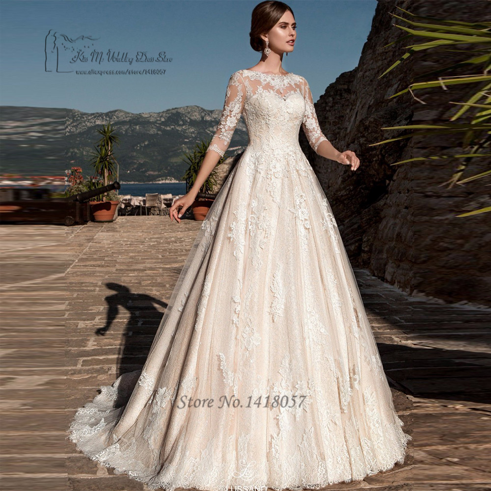 Champagne Color Wedding Dresses Vestidos De Noiva 2017: Vestido De Noiva Renda Champagne Lace Wedding Dresses