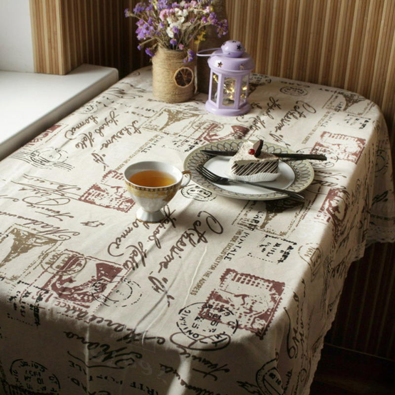 FLCTower Print Decorative Table Cloth Cotton Linen Lace Tablecloth Dining Table Cover For Kitchen Home Decor 26 image