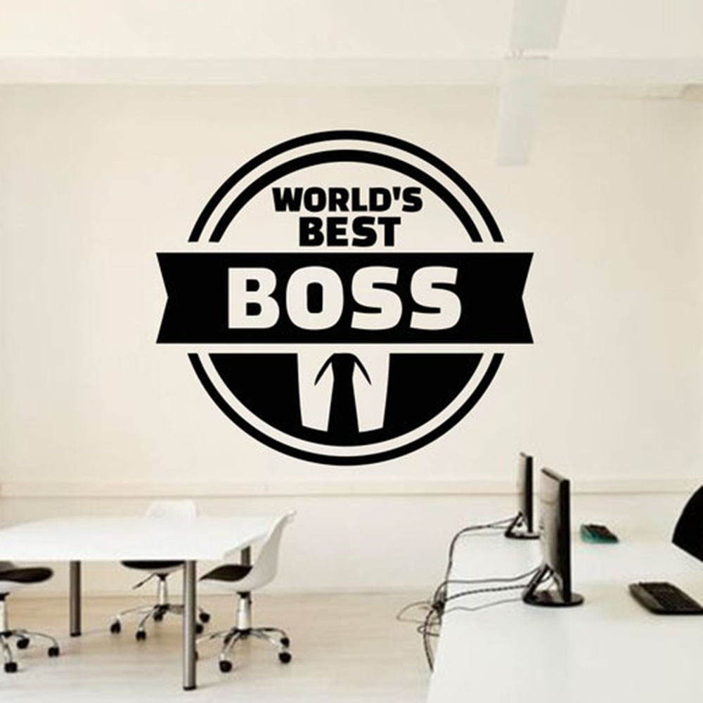 Wall Sticker Quote Office Wall Decal World Best Boss Room Decoration Teamwork Business Stickers Mural Worker Necktie B593 image