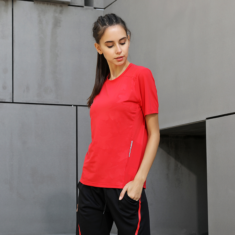 running - Yoga Running Tee Women Quick Dry Fitness Training Top Sports Mesh Print Short Sleeves Loose Outdoor T Shirt Women O Neck Workout