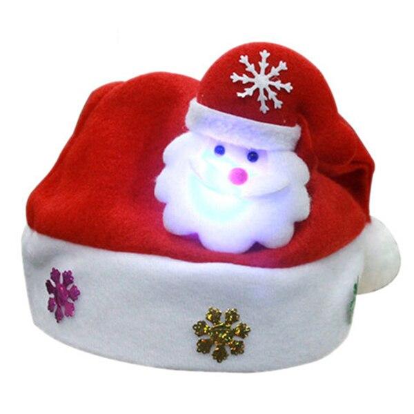 PHFU-Санта Клаус с светодиодный свет детская шапка, Рождественская шапка, 30*25 см - Цвет: Red