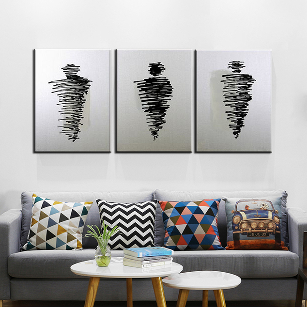 3 piece canvas wall art black and white oil painting on canvas cuadros decoracion modern paintings