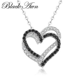 [BLACK AWN] غرامة حقيقية 100% 925 فضة مجوهرات قلادة نسائية القلب أحجار بيضاء وأسود المعلقات P107