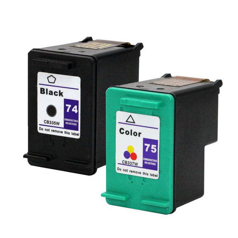 1 Black 1 Color 2PK OGOUGUAN Remanufactured Ink Cartridge Replacement for HP 74XL 75XL 74 XL 75 XL to use with Photosmart C4280 C5280 C4385 C4580 Officejet J6480 J5780 Deskjet D4360 Printer