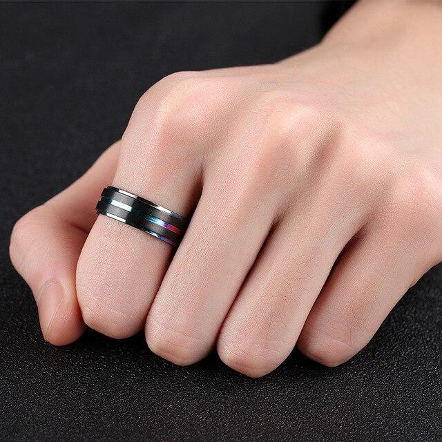 Купить рекомендуемые модные мужские кольца из нержавеющей стали черного картинки