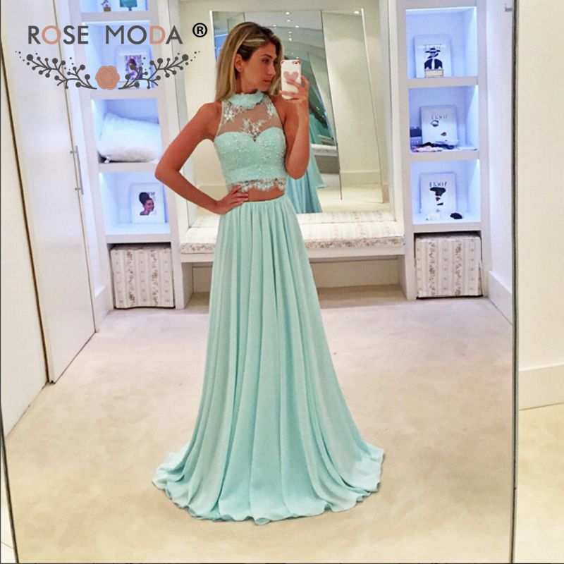 Rose Moda Two Pieces Mint Green   Evening     Dress   Lace Formal Party   Dress   Custom Made