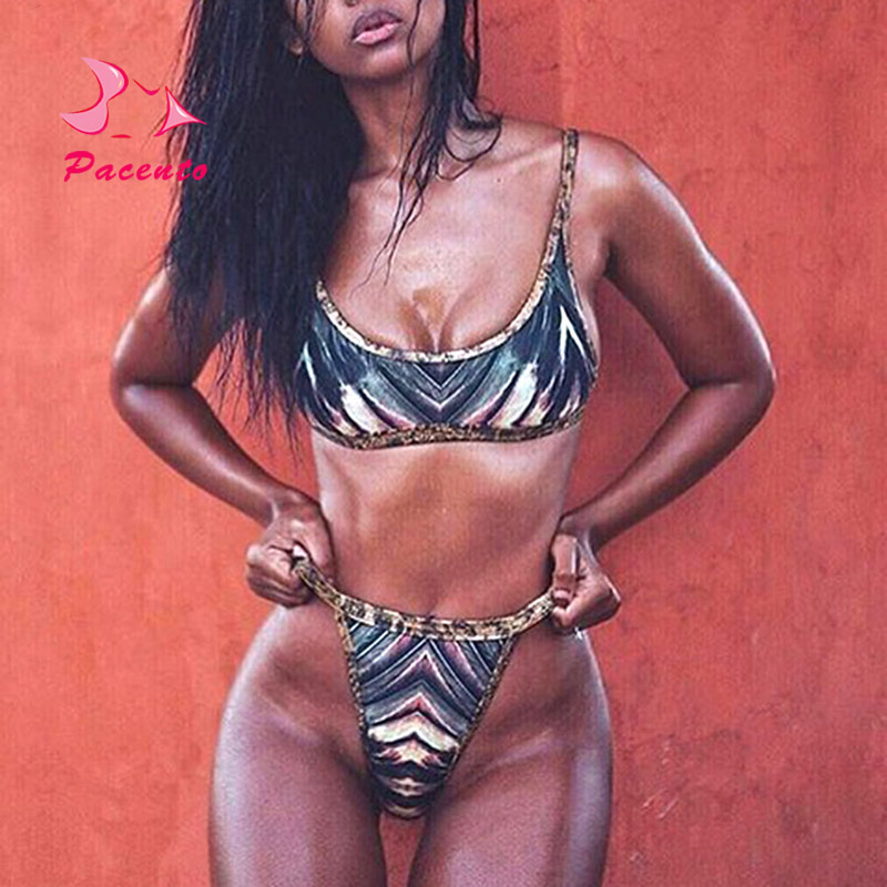 PACENT Sexy Leopard Bordered African Print Swimsuits Women Africa Bikini Thong Bottom Halter Swimwear Female Plus Size Plavky XL south african mnes in africa