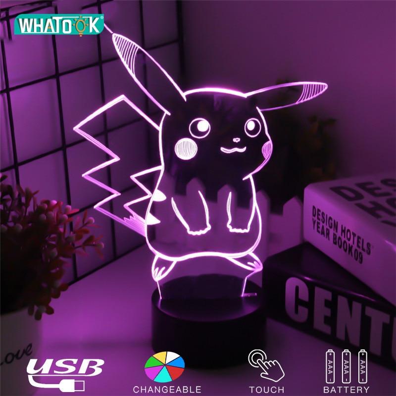 Pikachu Figure 3D Atmosphere Illusion Lamps Nightlight Pokemon Go Night Lights Kids Gifts Cartoon Pattern Desk Luminous Lighting