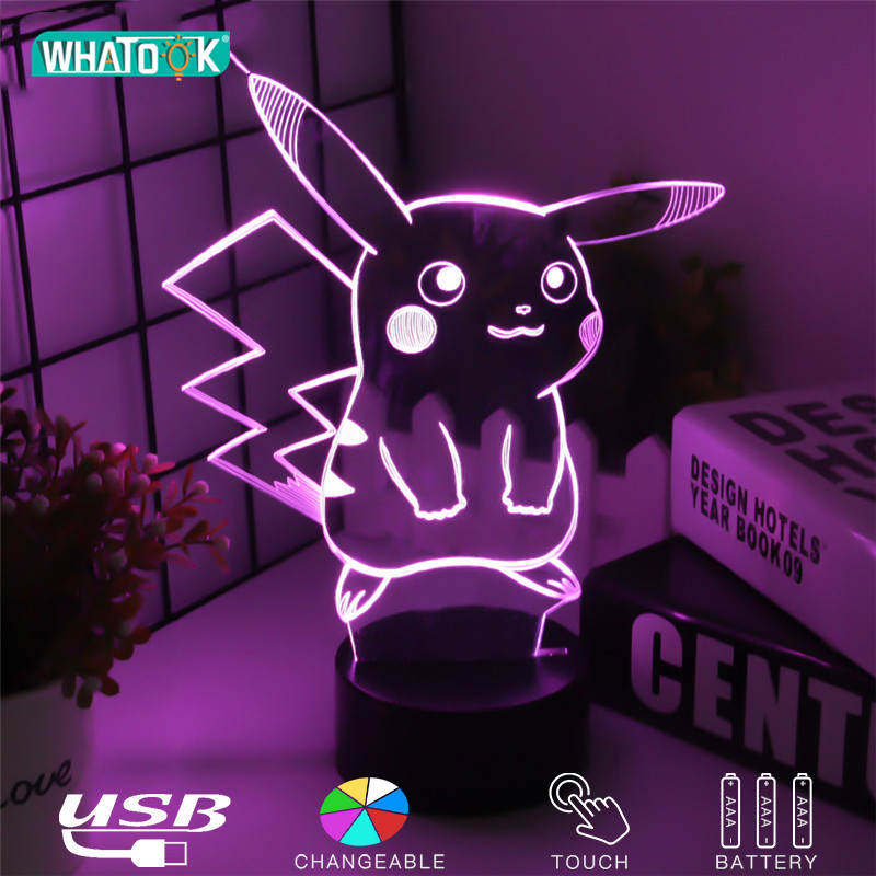Pikachu Figure 3D Atmosphere Illusion Lamps Nightlight Pokemon Go Night Lights Kids Gifts Cartoon Pattern Desk Luminous Lighting image