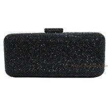 New Fashion Schwarz Kristall Box Kupplung Strass Abendtasche Diamant Abend Handtasche für Frauen Geldbörse