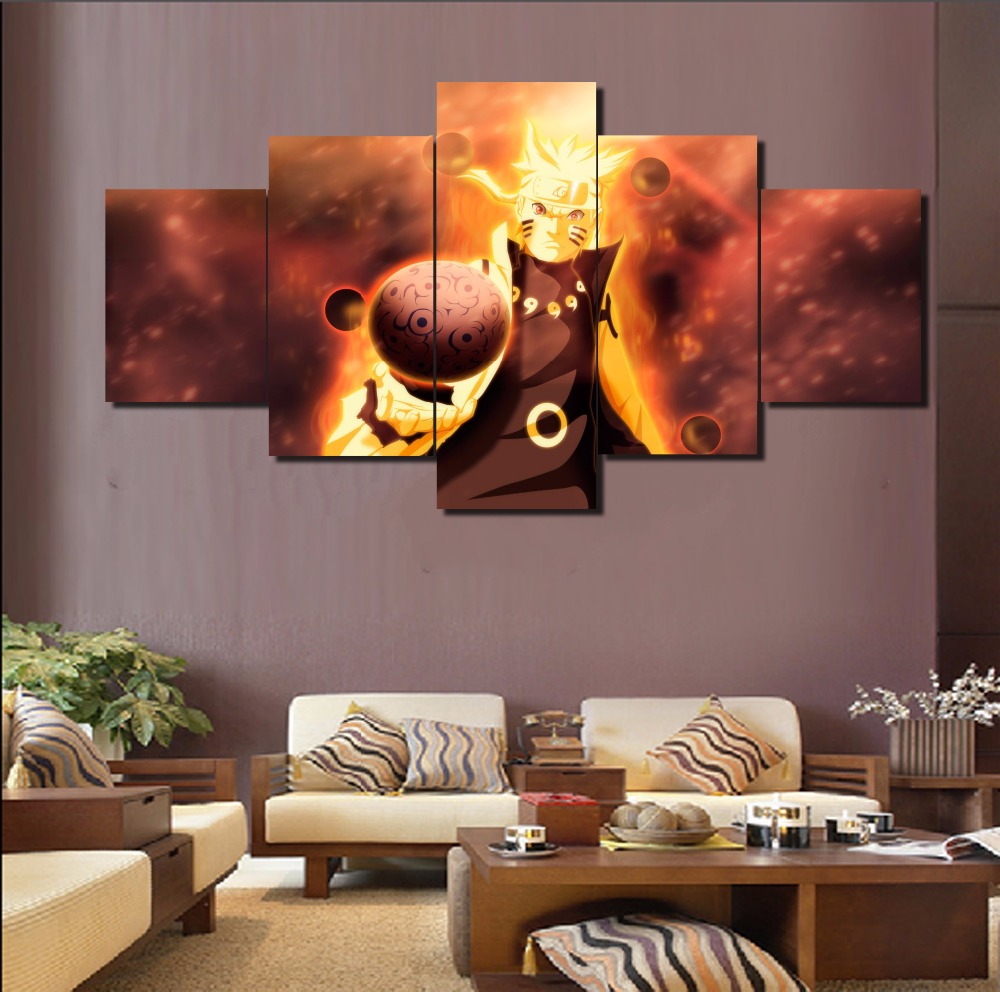 Hd printed 5 piece canvas art naruto anime cuadros for House decoration pieces
