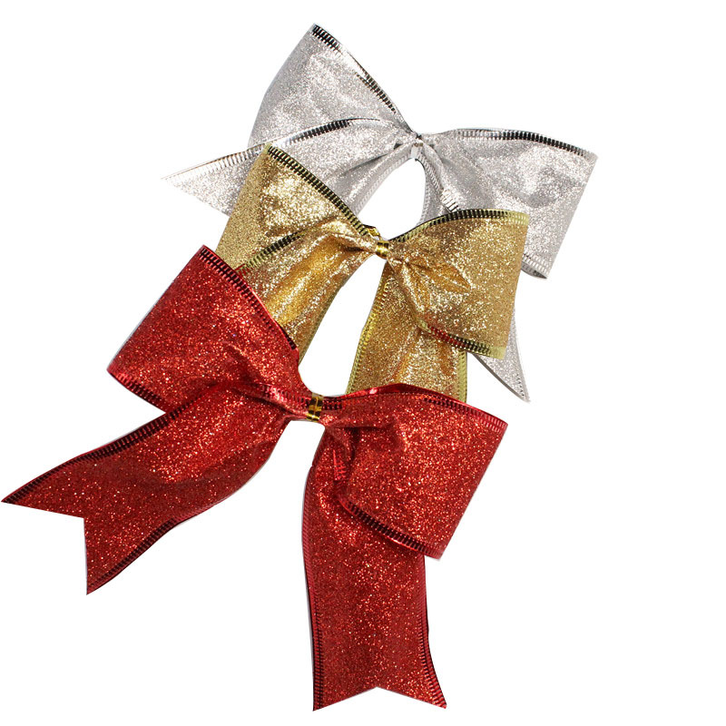 Christmas Tree With Red Ribbon: Large Red Silver Gold Christmas Ribbon Bow Christmas Tree