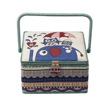 Große Nähen Korb Box Nähen Kit Mit Zubehör Holz & Stoff DIY Handwerk Lagerung Box Organizer Weihnachten Geschenk Für Mama