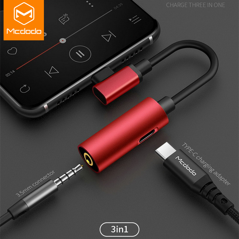 MCDODO Type C Jack Earphone USB C To 3.5mm AUX Charger Headphones Adapter For Huawei Xiaomi Mi 9 Samsung S10 S9 USBC Audio Cable