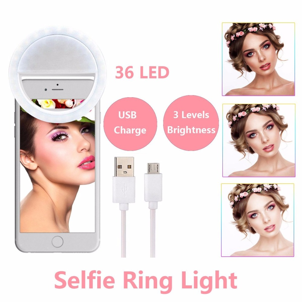 Beautify Skin LED Selfie Ring Light Med USB Lad opp Flash Fotolys Lampe til iPhone Samsung Telefon på klipp