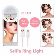 Embellir La Peau LED Selfie Anneau Lumière Avec USB Charge Up Flash Photographie Lampe Lumineuse pour iPhone Samsung Téléphone sur clip