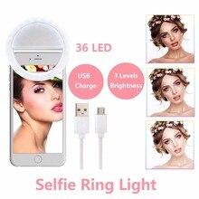 تجميل الجلد LED Selfie مصباح مصمم على شكل حلقة مع USB تهمة حتى فلاش التصوير مضيئة مصباح ل فون سامسونج الهاتف على كليب