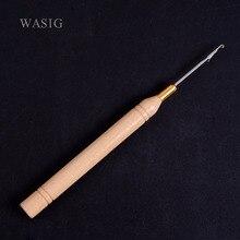 1 шт./лот) крючок с деревянной ручкой/иглы с микро кольцами/инструменты для наращивания волос с микро кольцами