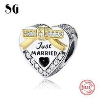 Sterling Silver 925 Love Heart Charm Beads Fit Original Pandora Charm Bracelets Berloque Authentic Pendant DIY