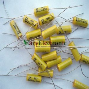 Image 2 - Wholesale and retail long leads yellow Axial Polyester Film Capacitors electronics 0.022uF 630V fr tube amp audio free shipping