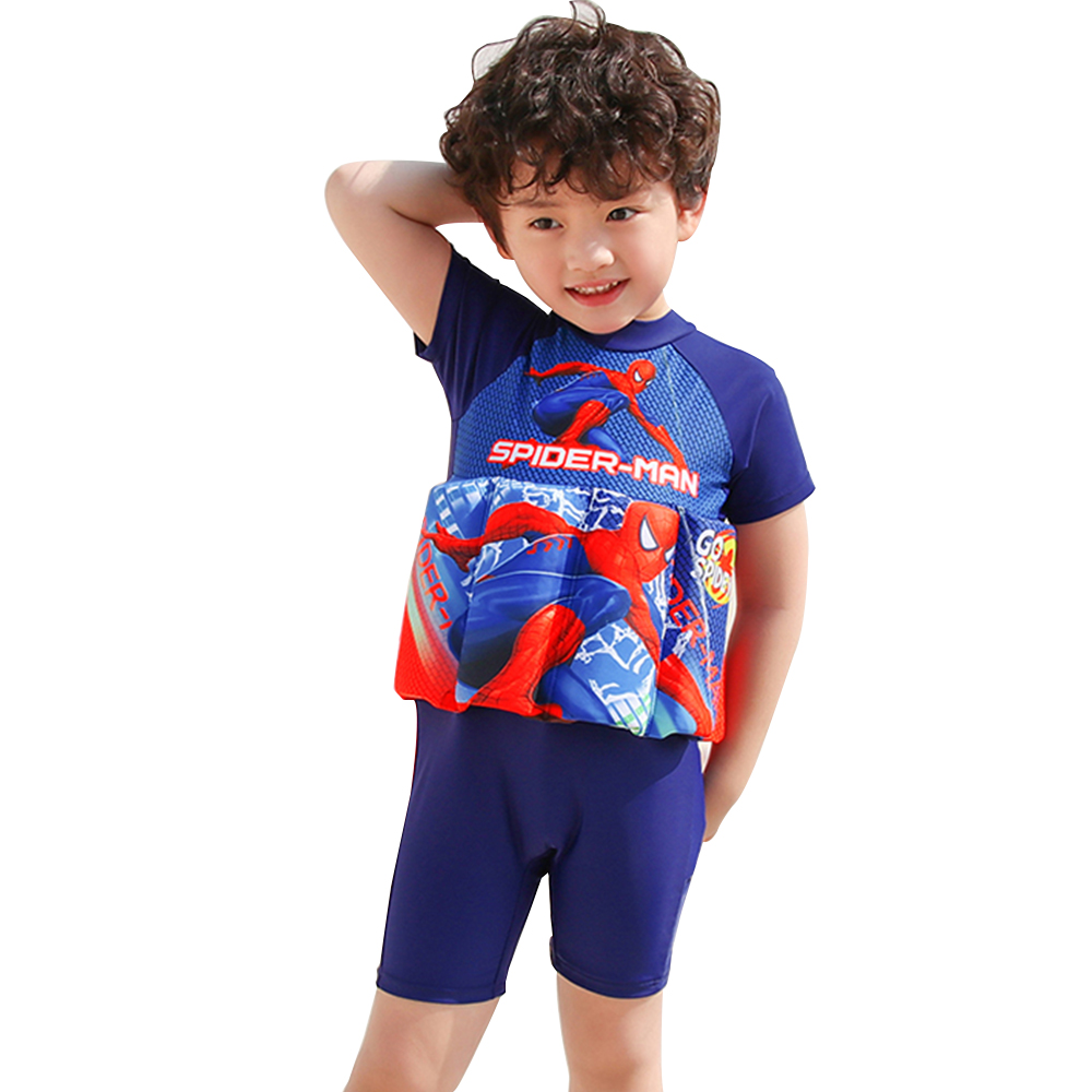 Spiderman Children Swimwear One-Piece Removable Buoyancy Float Swimsuit Swimming Cap/Hat Sleeve Knee Suit Swim Lesson Float Suit