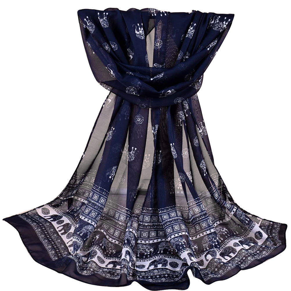 Fashion Elephant Pattern Chiffon Women Soft Breathable Long   Scarf   Neck   Wrap