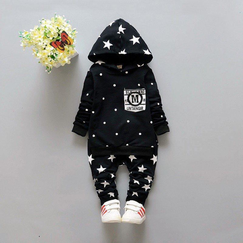 New Baby Sets Star Cotton Suits 2016 Infant Outerwear Spring Autumn Boys Clothes Pants Hooded Suit Hot Dot Tops Baby Clothing (6)