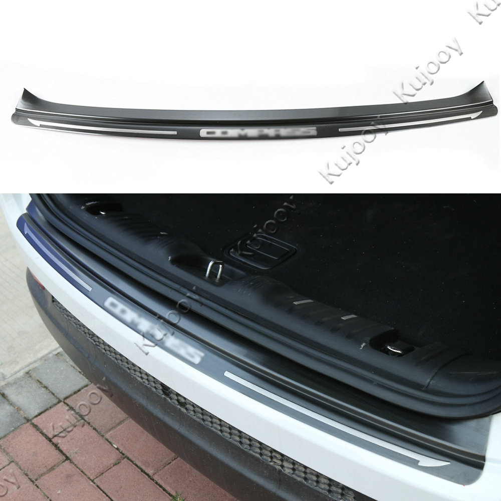Black Stainless Steel Outer Rear Bumper Protector Sill Plate Cover Trunk Guard Skid Trim For Jeep Compass 2017+ Car Styling 1 stainless steel rear trunk sill rear bumper protector plate cover trim for mazda cx 5 cx5 2nd gen 2017 2018 accessories