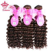 "Queen Hair 100% Human Hair Brazilian Virgin Hair Deep Wave 3pcs/lot Natural Brown #2 Color 14"" - 20"" in stock DHL Free(China (Mainland))"