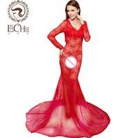 Leechee Q884 Latex Women Lingerie Sexy Hot Erotic Floral Bodysuit Perspective Nightwear Long Dinner Party Dress