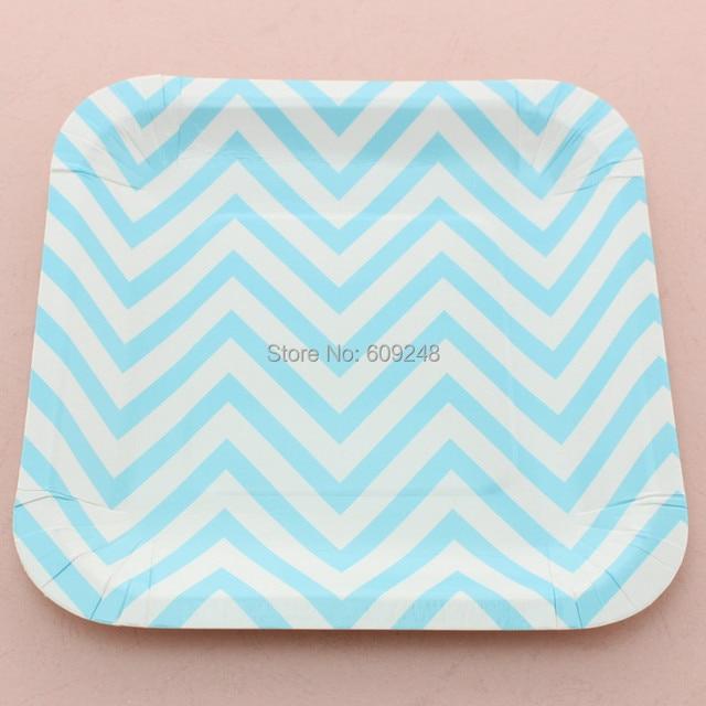 24pcs 7  Blue Chevron Zig Zag Square Paper Plates Bulk for Birthday Party Baby Shower  sc 1 st  AliExpress.com & 24pcs 7