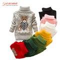 Suéter Nuevo Invierno Primavera de Dibujos Animados Bebé Niños Niñas Niños Ropa Caliente de Los Niños del Oso de Cuello Alto Suéteres Suéter Superior prendas de Vestir Exteriores