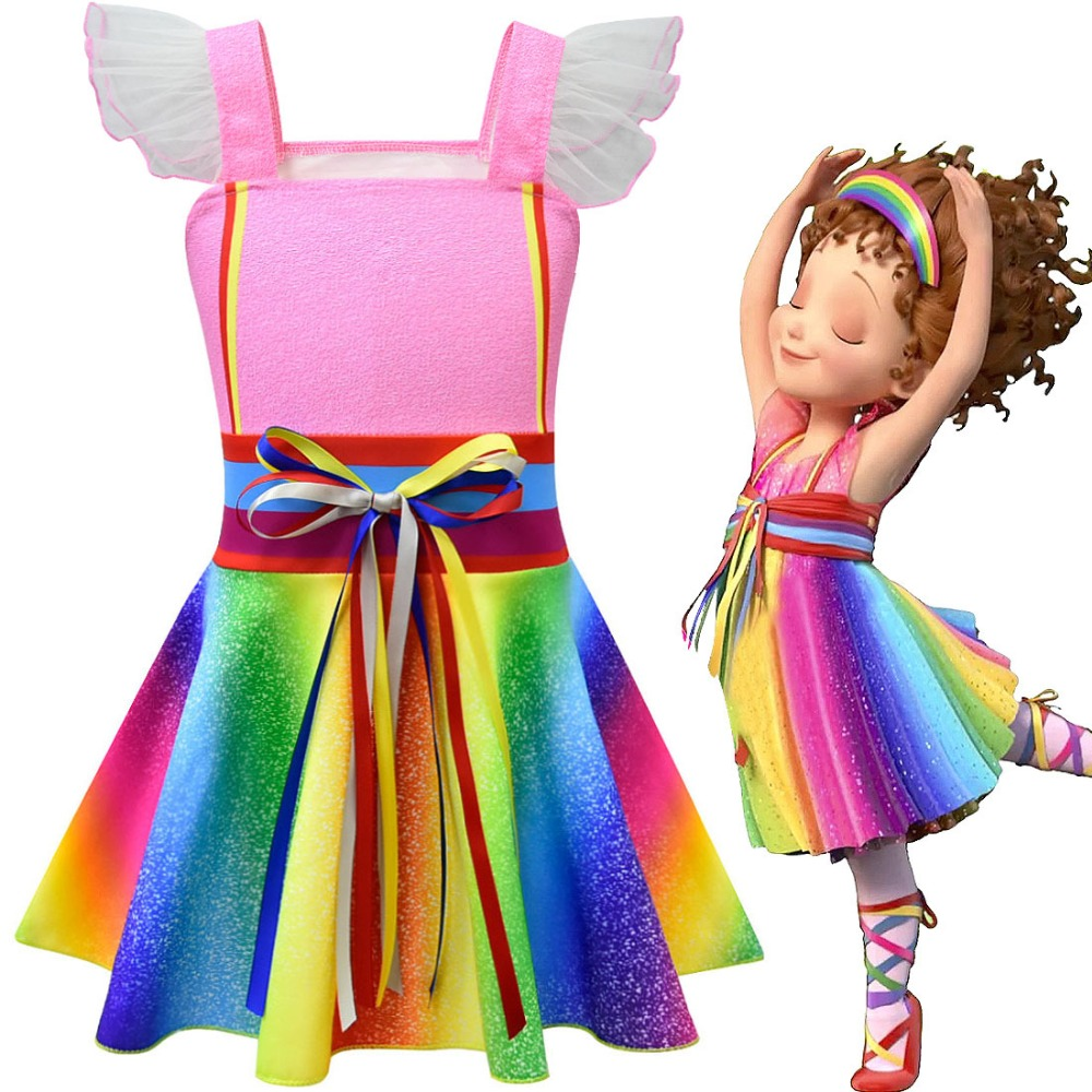 New Desenhos Animados Fantasia Nancy Cosplay Rainbow Vestido Traje