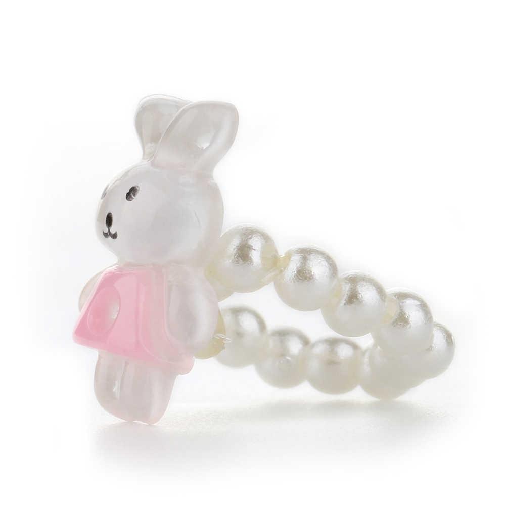 Cartoon Halskette Kinder Mädchen Nette Bär Kaninchen Anhänger Perlen Halskette Armband Ring Schmuck-Set Künstliche Perle Halskette Bär