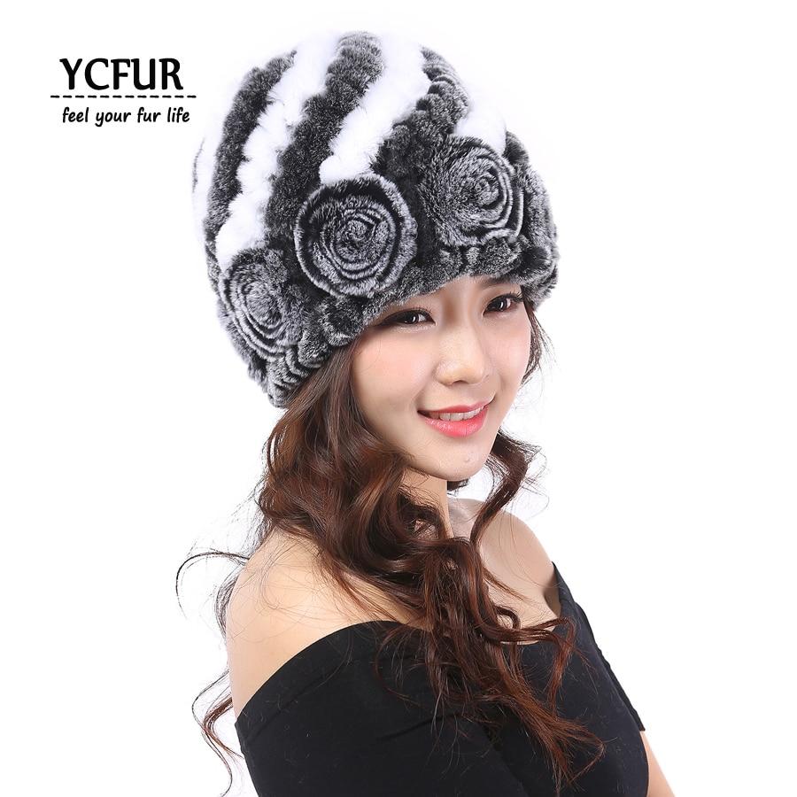 YCFUR Winter Hats Caps Women Knit Genuine Rex Rabbit Fur   Skullies     Beanies   Hats For Women Real Fur Women Hat Cap Warm Winter