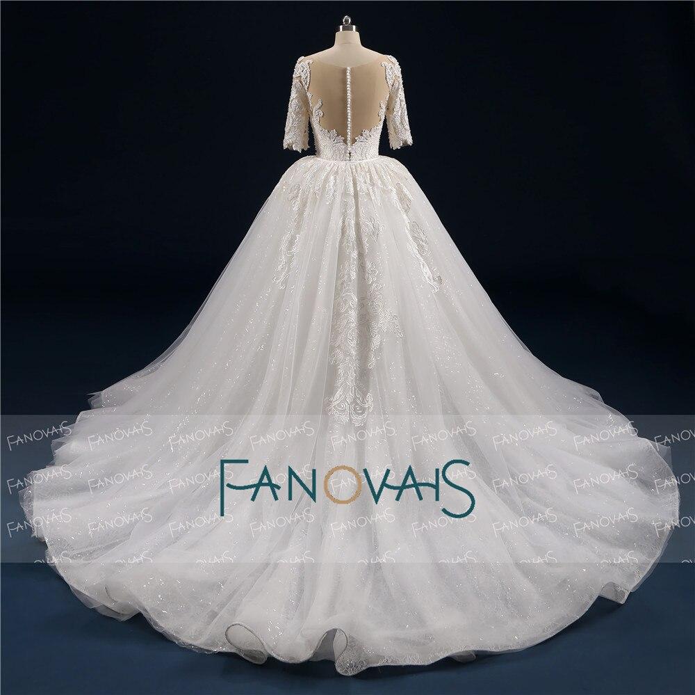 Vintage Mermaid Wedding Dress 2019 Scoop Half Sleeves Removable Train Lace Wedding Gown Beaded Vesrido de Novia WN16 in Wedding Dresses from Weddings Events