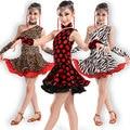 Red Black Latin Dance Dress For Girls Samba Dress Ballroom Kids Dancing Dress Girl Dancewear Ballet Vestido Baile Latino Girls