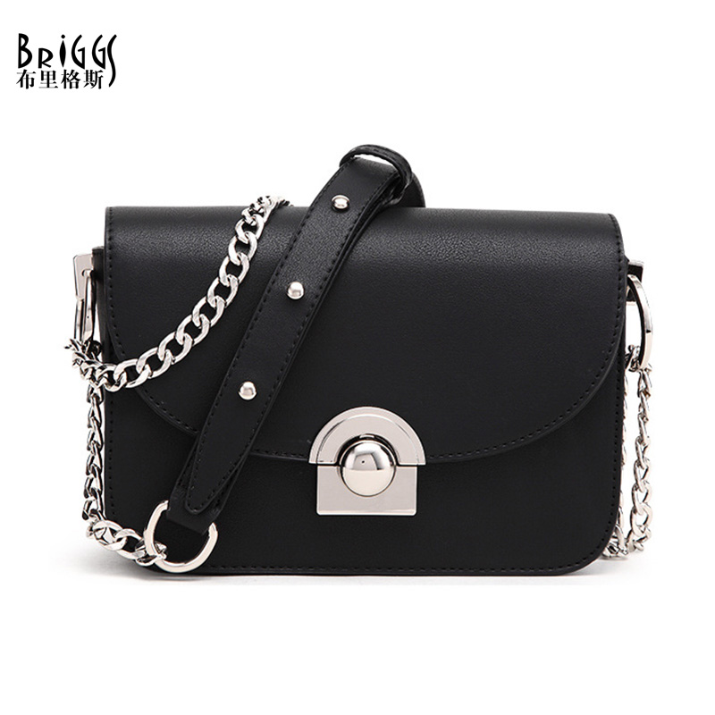 BRIGGS Women Handbags Famous Brand Women Messenger Bag Chains PU Leather Women Shoulder Bag Fashion Small Flap Bags bolsos mujer women handbags fashion women messenger bags flap crossbody bag chains shoulder bag high quality pu leather handbag female 2018
