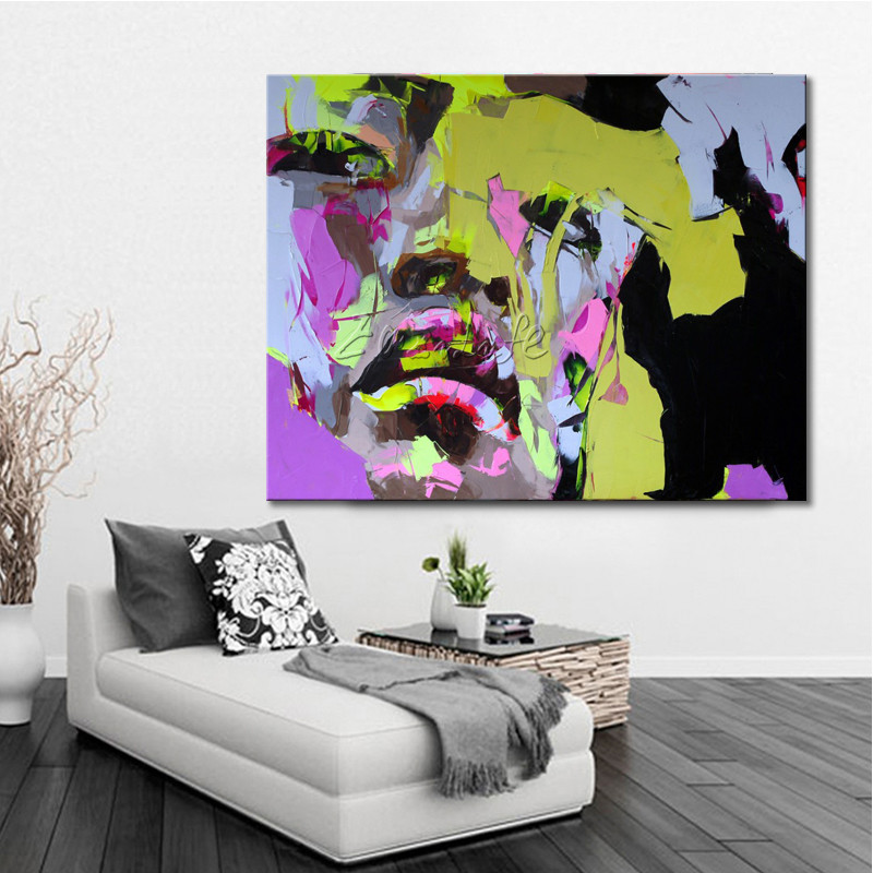 Francoise Nielly on canvas palette knife Face oil painting wall art pictures for living room home decor caudros decoracion84Francoise Nielly on canvas palette knife Face oil painting wall art pictures for living room home decor caudros decoracion84
