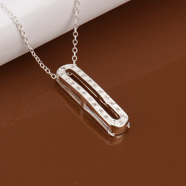 N388 925 sterling silver jewelry fine fashion hollow letter I with white crystal pendant necklace for girl women wedding jewerly