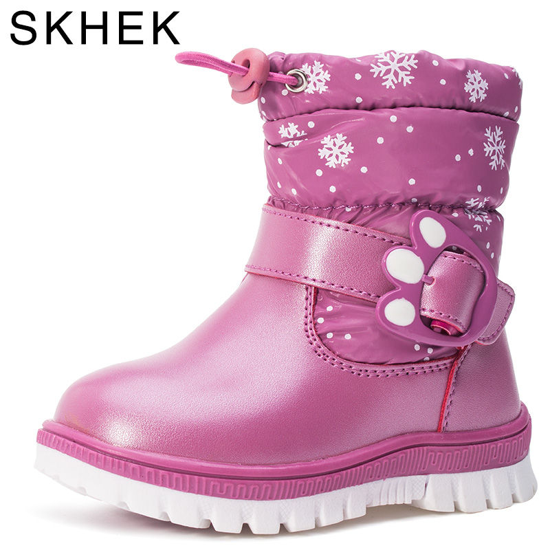 SKHEK Winter Boots For Girls Brand Fashion Kids Rain Boots Rubber Warm Snow Boots High Quality Woo 40% Boys Baby Shoes 7 colors brand new winter warm boots for girls boys high quality snow boots children s casual shoes kids soft warm snow boots