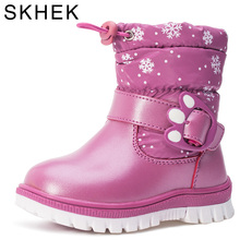 SKHEK Winter Boots For Girls Brand Fashion Kids Rain Boots Rubber Warm Snow Boots High Quality Woo 40% Boys Baby Shoes aadct fashionable warm cotton fur girls boots new winter comfortable children boots for boys high quality kids snow boots brand