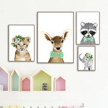 Fox Deer Слон Жираф Енот Детская Стены Искусства Холст Картины Северные Плакаты И Отпечатки  Лучший!