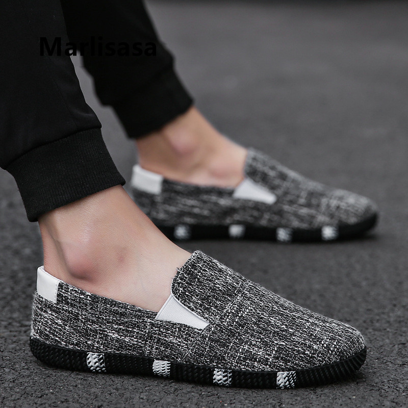 Marlisasa Male Fashion High Quality Black Slip On Flat Shoes Men Casual Beige Shoes Man's Loafers Chaussures Pour Hommes F5025b