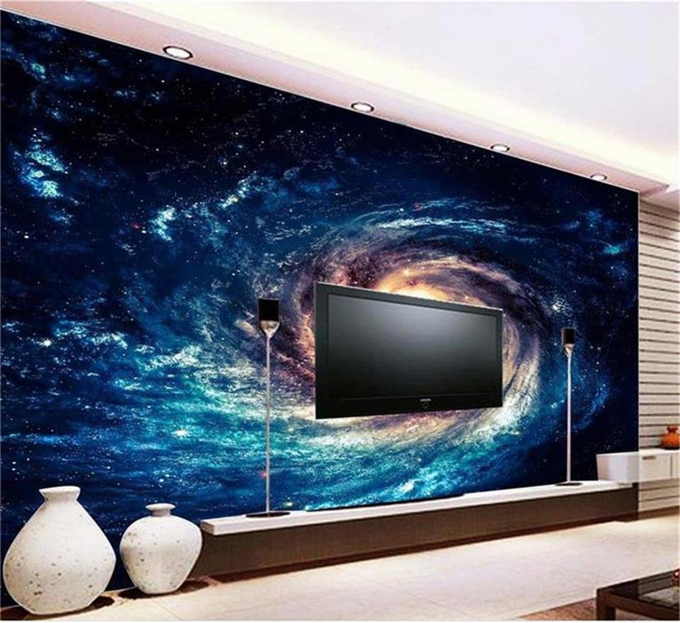 custom 3d photo wallpaper mural living room milky way galaxy vortex 3d painting sofa TV background wall non-woven wall sticker 3d wallpaper custom mural non woven wall sticker black and white wood road snow tv setting wall painting photo wallpaper for 3d